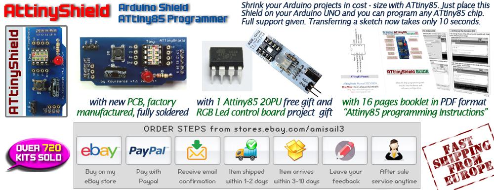 NEW Arduino Shield 4 1 ATtiny85 Programmer + FREE GIFT:1 ATtiny 85+